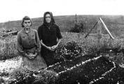 Schwester und Mutter am Grab von Rosina Frambach aus Temeswar im Lager Nowotroizk